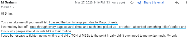 """""""I passed the bar, in large part due to Magic Sheets. I worked my butt off - read through every page several times and each time picked up - or rather - absorbed something I didn't before and this is why people should include Magicshees in their routine."""""""
