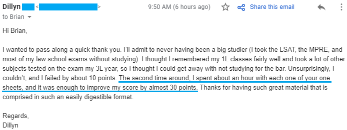 """""""I failed by about 10 points. The second time around, I spent about an hour with each one of your one sheets, and it was enough to improve my score by almost 30 points. Thanks for having such great material that is comprised in such an easily digestible format."""""""