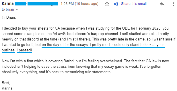 """""""on the day-of for the essays, I pretty much could only stand to look at your outlines. I passed!"""""""