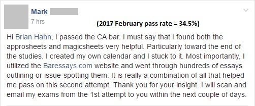 """""""I passed the CA bar. I must say that I found both the Approsheets and Magicsheets very helpful."""""""