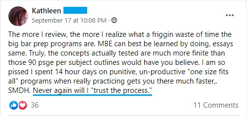 """""""The more I review, the more I realize what a waste of time the big bar prep programs are. . . . Never will I 'trust the process.'"""""""