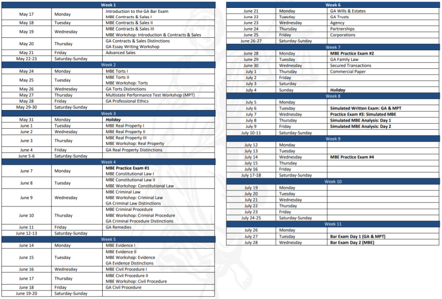 Typical bar prep course's study schedule