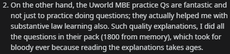 """""""the UWorld MBE practice Qs are fantastic and not just to practice doing questions; they actually helped me with substantive law learning also. Such quality explanations, I did all the questions in their pack"""""""